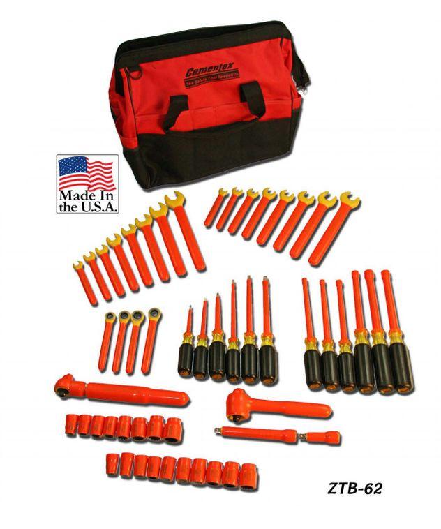 Cementex ZTB-62 Insulated Tool Set In Zippered Bag, 62PC