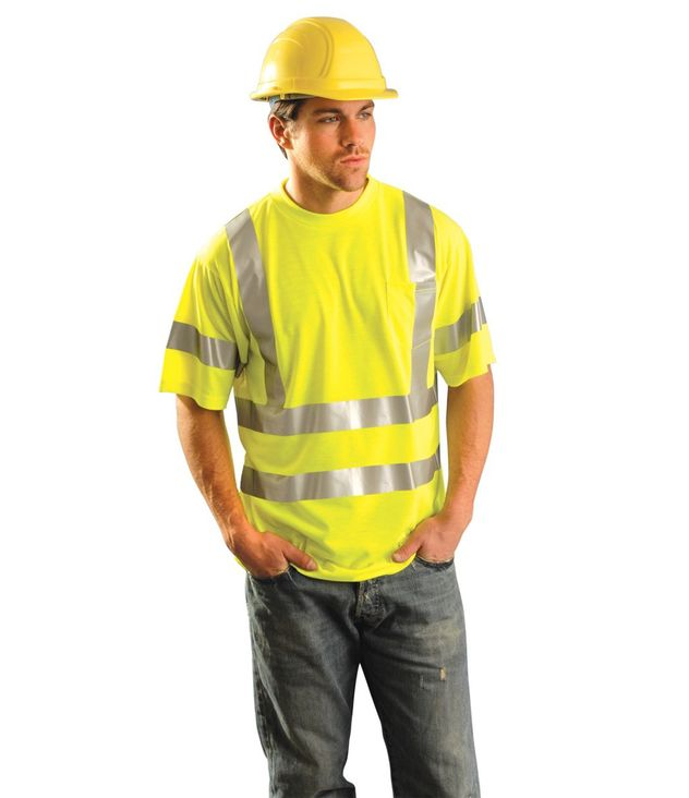 Occunomix LUX-SSETP3 Short Sleeve, Hi-Viz Dual Stripe Wicking T-shirt, Class 3