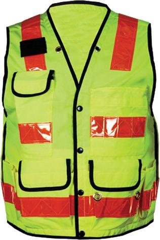 OK-1 Premium Safety Vests TSLV, TSV - Class 2 Solid Polyester Twill Fluorescent Lime Orange Stripes