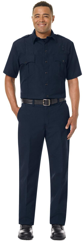 Workrite FR Fire Officer Shirt FSE2, Classic Short Sleeve Midnight Navy Example Front