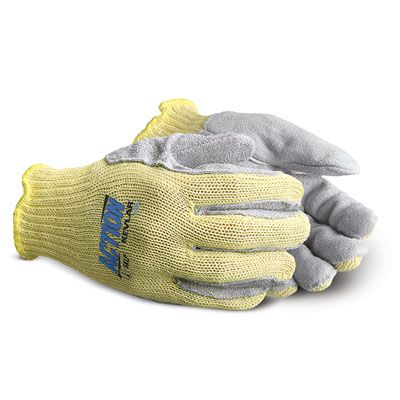 Superior Glove Action Cut Resistant Gloves SKLP - Leather Palm Kevar Knit Gloves, Gun cut Style