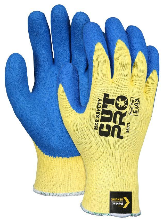 MCR Safety Flex Tuff Gloves 9687 Aramid Cut Resistant with Textured Latex Palms