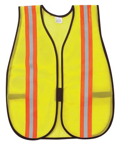 MCR Safety River City Safety Vest V200R - High Visibility, Reflective Stripes, Lime Color