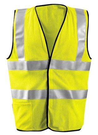 Occunomix LUX-SSFGCFR Hi-Viz Premium Flame Resistant Dual Stripe Mesh Vest Front