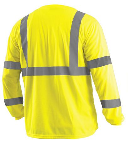 Occunomix LUX-LSETP3B Long Sleeve Wicking Birdseye T-Shirt With Pocket Yellow Back