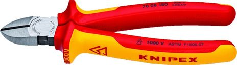 """Knipex 7.25"""" Insulated Diagonal Cutters 70 08 180"""