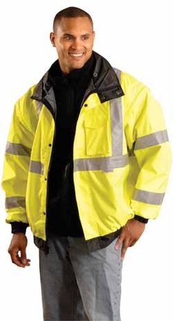 Occunomix OccuLux Rain Jacket LUX-TJBJ - High Visibility Bomber Front Example