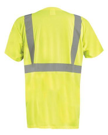 Occunomix Hi Vis T-Shirt LUX-SSETPBK - Wicking Birdseye, Black Bottom Front Back