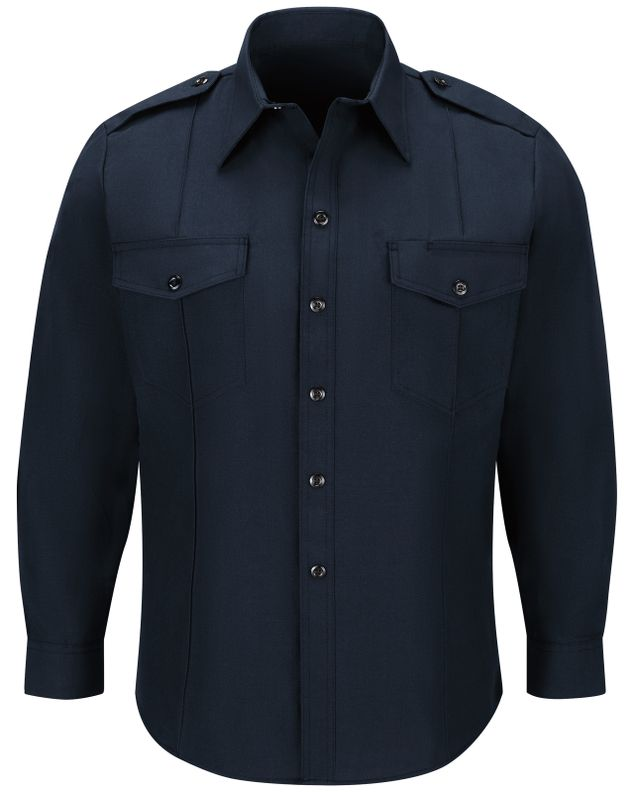 Workrite FR Fire Chief Shirt FSC4 Classic Long Sleeve Midnight Navy Front