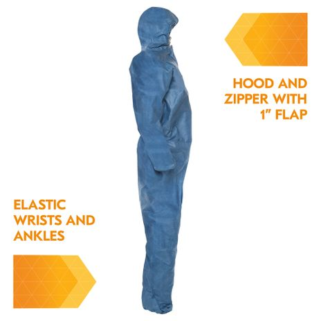 Kimberly Clark Kleenguard Coverall A20 Breathable - Blue Elastic Back Wrists Ankles and Hood Right