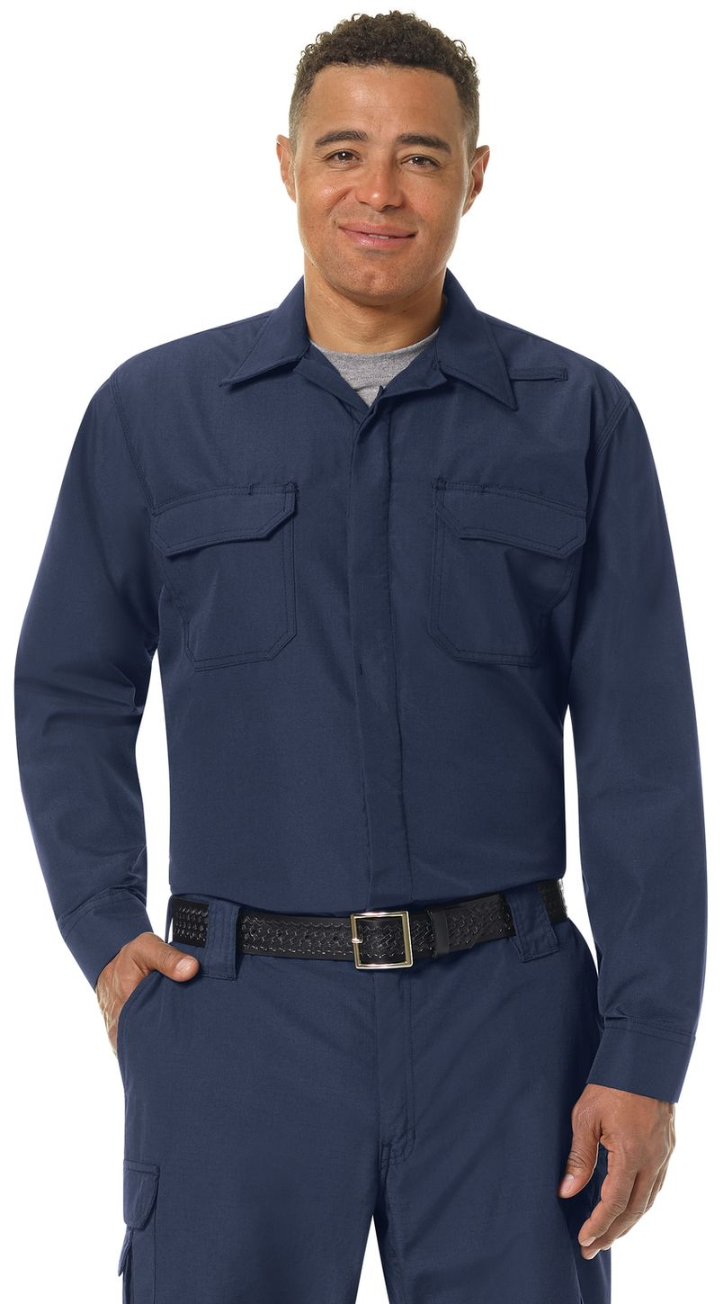 Workrite FR Shirt Jacket FST2, Ripstop, Tactical Navy Example Front