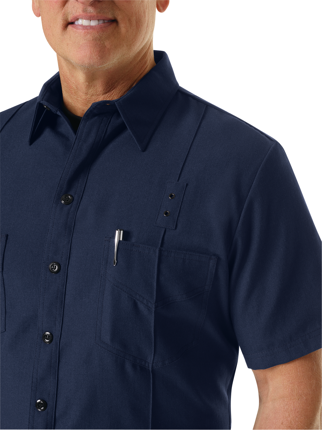 Workrite FR Firefighter Shirt FSF8, Classic Western Navy Example