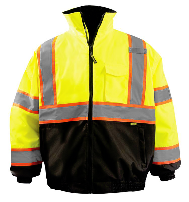 Occunomix LUX-350-B2X Black Bottom 2-in-1 X-Back Bomber Jacket Yellow Front