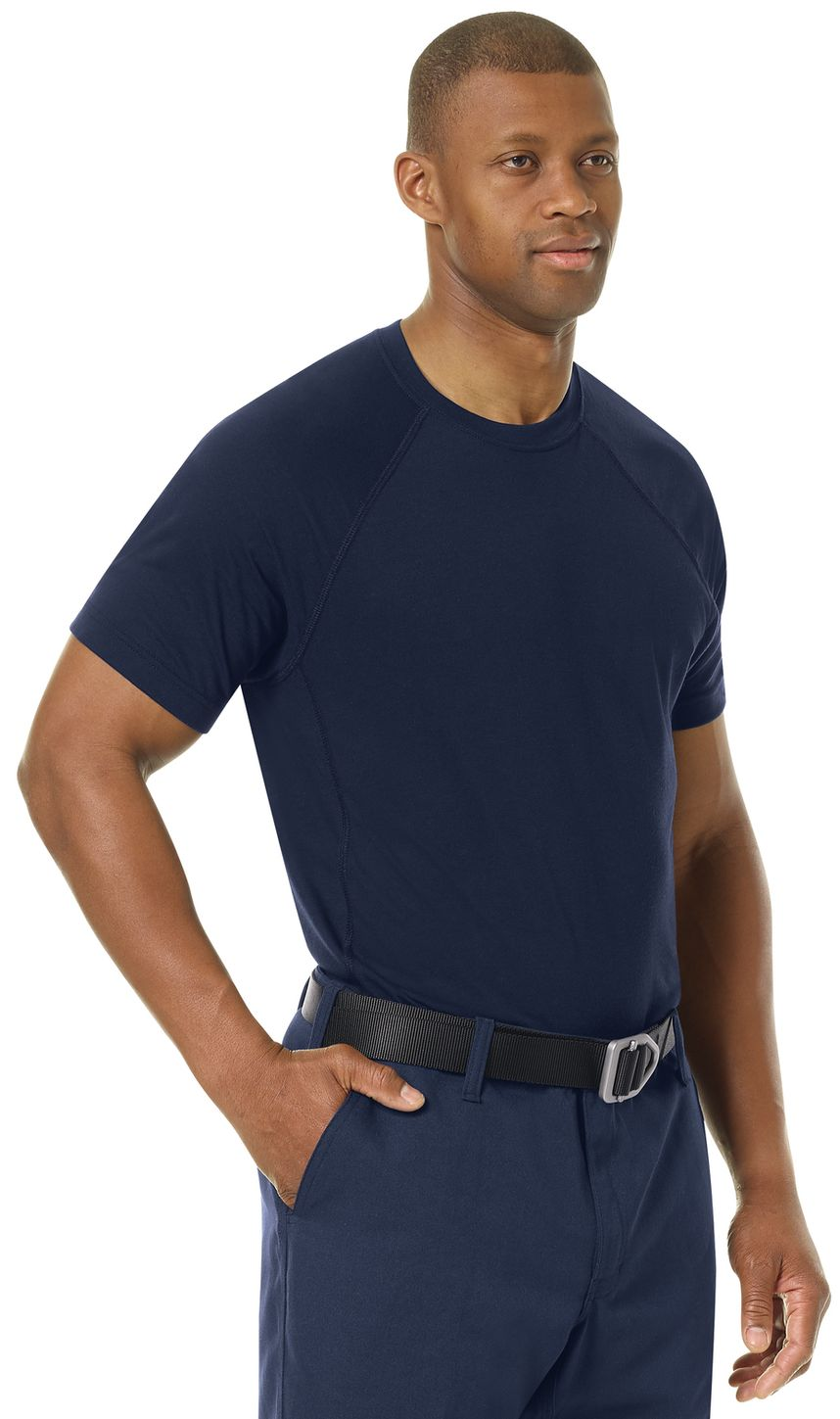 Workrite FR Station Wear Tee FT36, Base Layer, Athletic Style Navy Example Right