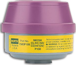 North Safety 7583P100L Organic Vapor & Acid Gas Cartridges with P100 Filters