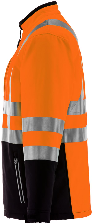 RefrigiWear 0496 Softshell HiVis Winter Work Jacket HiVis Orange With Reflective Tape Left