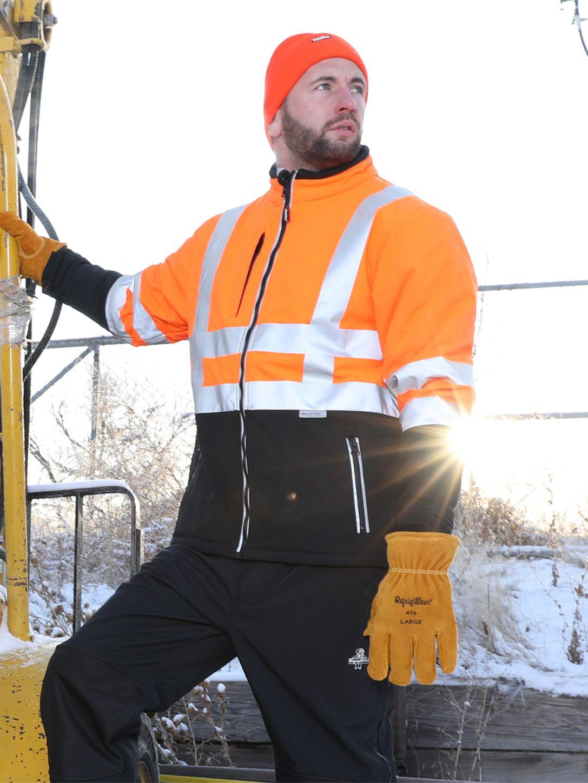 RefrigiWear 0496 Softshell HiVis Winter Work Jacket HiVis Orange With Reflective Tape Example