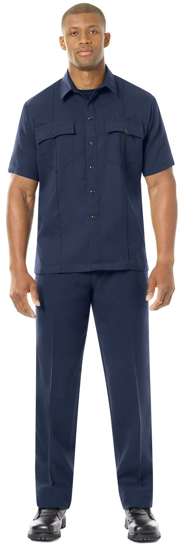 Workrite FR Shirt FSU2, Untucked Uniform, Station No. 73 Navy Example Front
