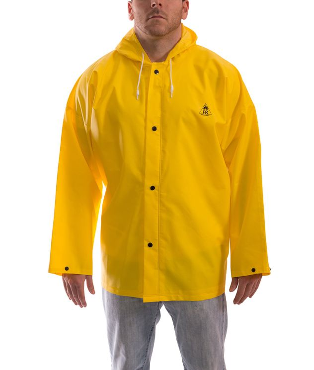 Tingley J56107 DuraScrim™ Flame Resistant Jacket - PVC Coated, Chemical Resistant, with Attached Hood Front