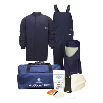 National Safety Apparel Arc Flash Suit KIT4SC40 40 Calorie With Jacket And Bib Overall HRC 4 Bright