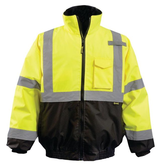 Occunomix LUX-350-JB Black Bottom 2-in-1 Quilted Bomber Jacket Front Yellow