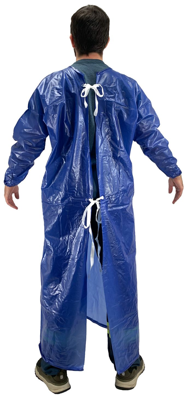 Ansell 56-910 Coat Aprons - 8 mil Blue Vinyl Back