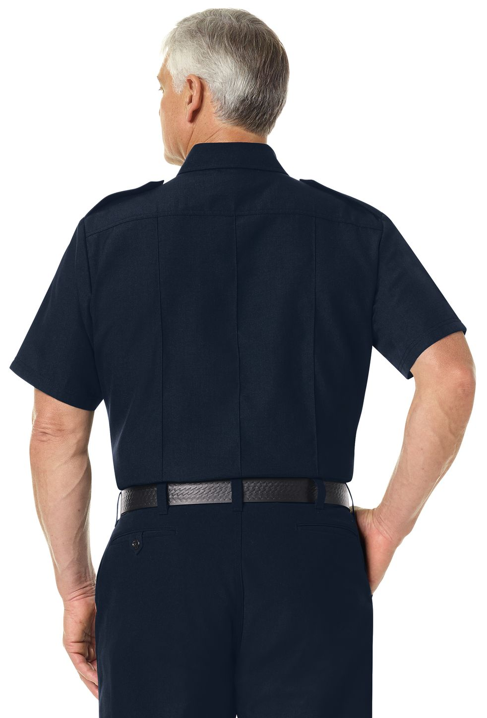 Workrite FR Shirt FSC6, Fire Chief, Classic Short Sleeve Midnight Navy Example Back