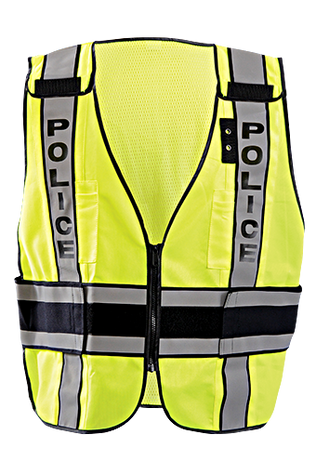 Occunomix LUX-DPSP-DOR Deluxe Solid/Mesh Breakaway Public Safety Vest w/DOR, Police Front