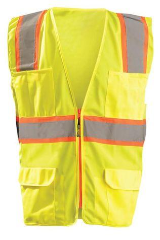 Occunomix LUX-ATRANS Class 2 Solid Two-Tone Surveyor Vest Front Yellow