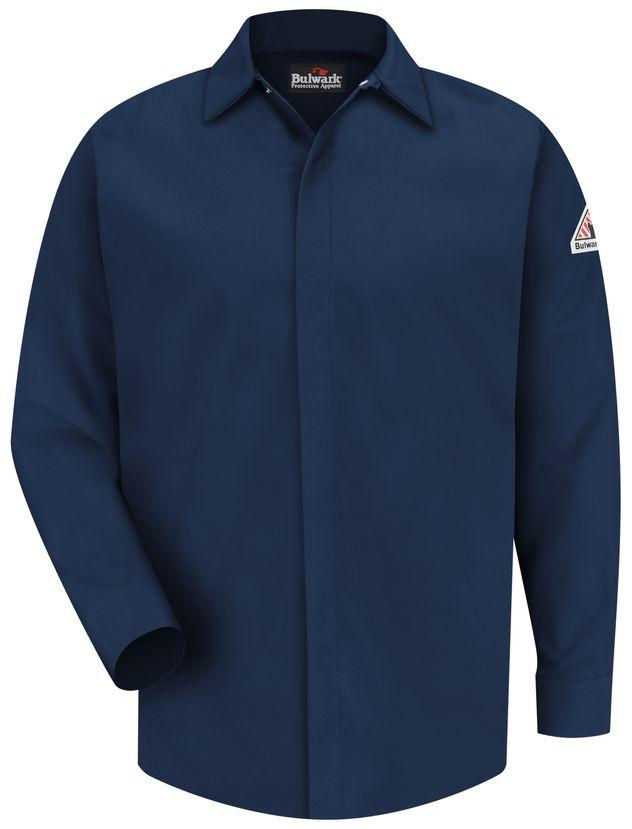bulwark-fr-shirt-sms2-nv-midweight-pocketless-consealed-gripper-work-navy-front.jpg