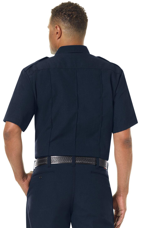 Workrite FR Fire Officer Shirt FSE2, Classic Short Sleeve Midnight Navy Example Back