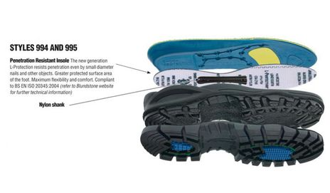 Blundstone 994 Steel Toe Boots With Metatarsal Guards Inner Sole to Outsole Layers