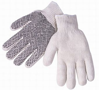 Liberty P4716Q One-Sided Economy Black PVC Dotted Gloves