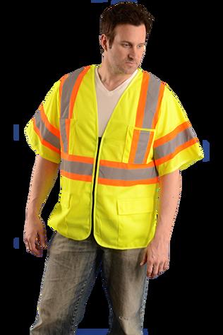 Occunomix OK-5050313 Hi-Viz Two Tone Mesh Vest With Zipper