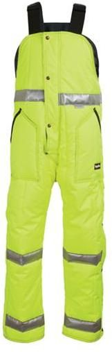 RefrigiWear Cold Weather Apparel - HiVis™ Iron-Tuff™ High Bib Overall 0385L2 - Lime