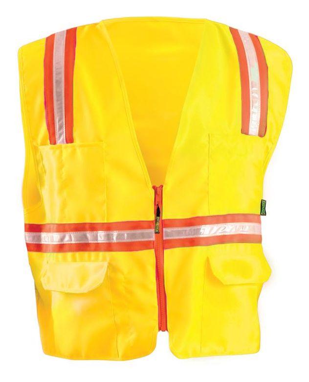 Occunomix LUX-XTRNSM Hi-Viz Mesh Two-Tone Surveyor Vest Yellow Front