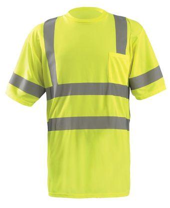 Occunomix LUX-SSETP3B Short Sleeve Dual Stripe Wicking Birdseye T-shirt, Class 3 Yellow Front