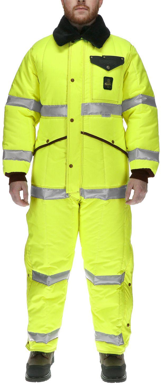 RefrigiWear 0344L2 Hivis Iron-Tuff Coverall Lime Example