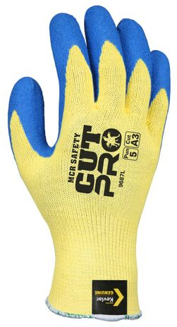 MCR Safety Flex Tuff Gloves 9687 Aramid Cut Resistant with Textured Latex Palms Back
