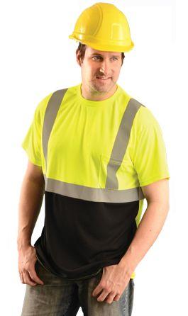 Occunomix Hi Vis T-Shirt LUX-SSETPBK - Wicking Birdseye, Black Bottom Front Example