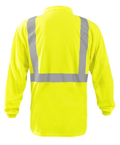 Occunomix LUX-LSPP2B Long Sleeve Wicking Birdseye Polo Shirt w/Pocket Back Yellow