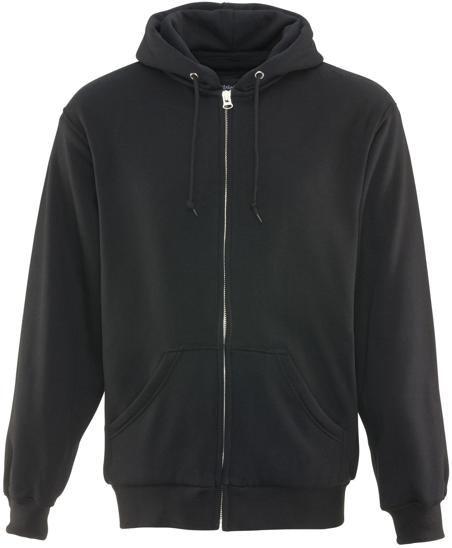 RefrigiWear 0487 Thermal Zipper Work Sweatshirt - With Hood, 2 Layer Black Front