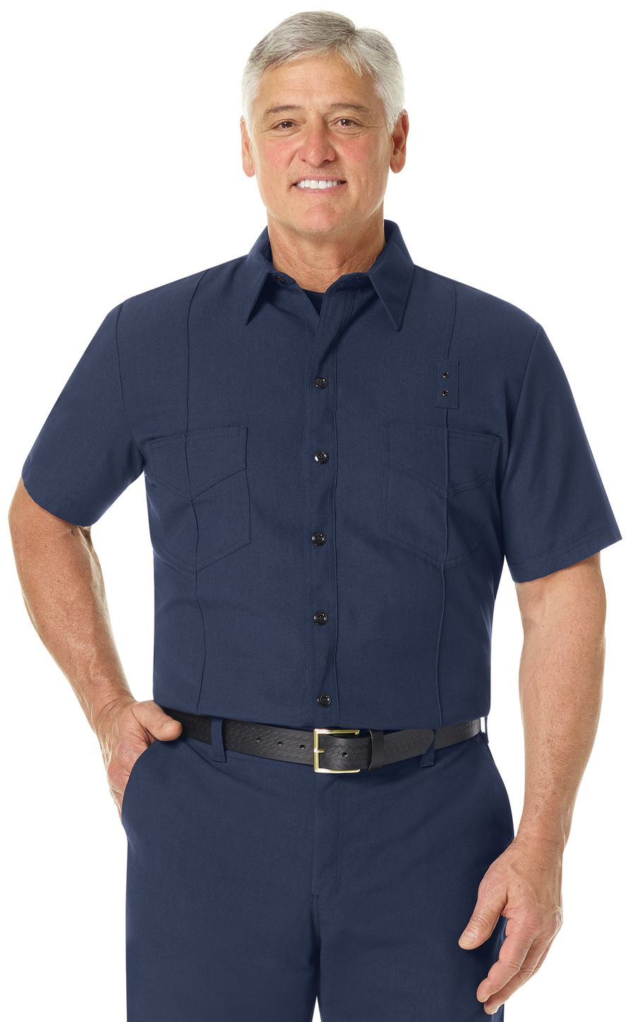 Workrite FR Firefighter Shirt FSF8, Classic Western Navy Example Front