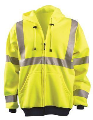 Occunomix OccuLux Sweatshirt LUX-SWT3HZ - Hi Viz Ultra Soft Wicking Zip-Up Front Yellow