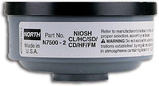 North Safety N75002L Acid Gas Cartridges for Respirators