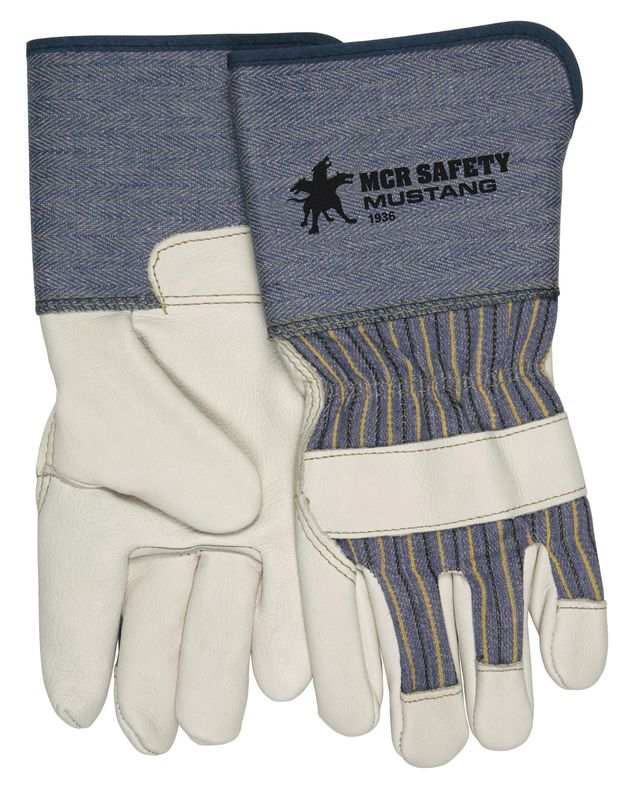 MCR Safety Mustang Gloves 1936 Gauntlet Cuff Leather Palm