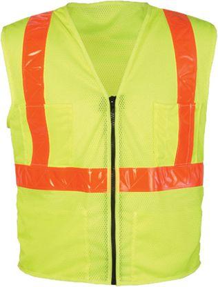 OK-1 Safety Vests SVOML, SVLMO - Class 2 Mesh Polyester Fluorescent Lime Orange Stripes