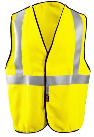 Occunomix LUX-SSCBRFR Hi-Viz Flame Resistant Single Stripe 5-PT Break-Away Solid Vest Front
