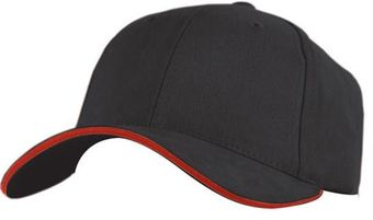 RefrigiWear Cold Weather Apparel - Brushed Sandwich Ball Cap 6145 - Black and Red