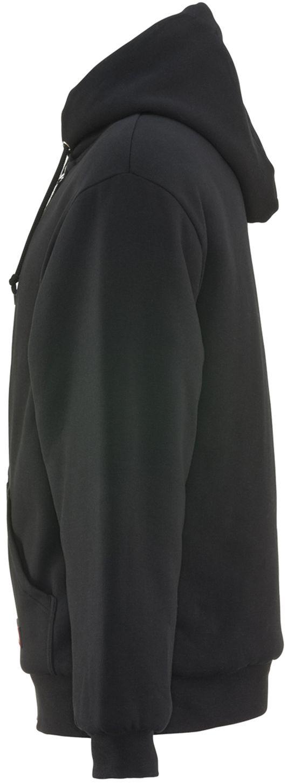RefrigiWear 0488 Quilted Insulated Zipper Work Sweatshirt With Hood 3 Layer Black Left